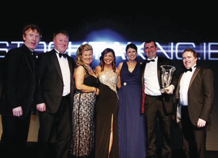 At the presentation of the Supplier of the Year Award were ( l-r) MC Hector O Heochagain, Stephen Kelly and Sharon Kelly Stocktaking.ie, Oonagh O'Hagan chairperson of Retail Excellence Ireland, Joan and Patrick McDermott Stocktaking.ie and Peter Sweeney of Barclaycard ( event sponsors) at the Retail Excellence Ireland Awards 2014. Photo:- Andrew Downes Photography