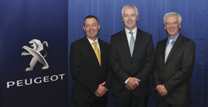 Pictured from left to right: Des Cannon, managing director at Gowan Distributors Limited, Peugeot importers in Ireland; Brian Kenny, dealer principal at Kenny Galway; and Colin Sheridan, sales and marketing director at Gowan Distributors Limited.