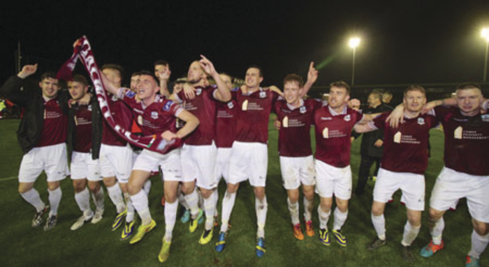 Galway FC celebrate their return to Irish soccer's top flight next season.