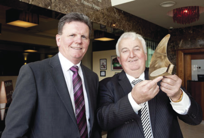 Sean Kelly of Kelly's Butchers, Newport, at the Connacht final of the Ulster Bank Business Achievers Awards 2014 in The Clayton Hotel, Galway, with Brendan McDermott, regional director with Ulster Bank.