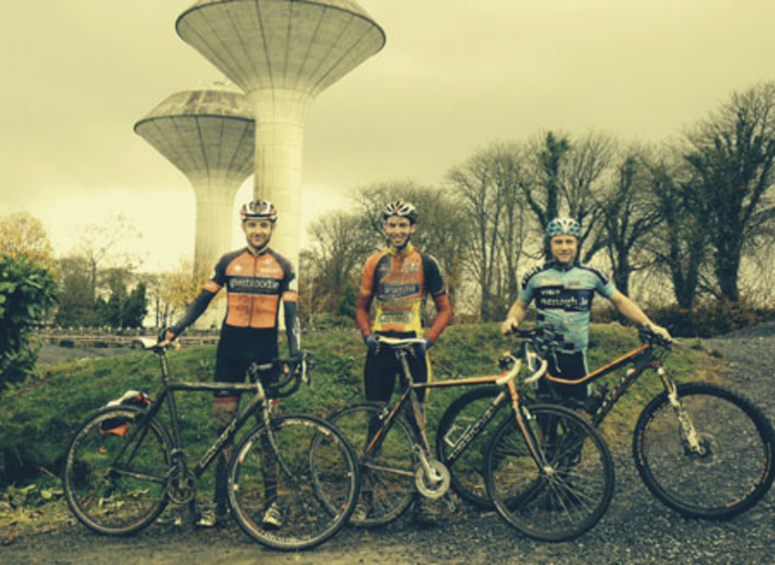 The winners of the A race at the cyclo-cross in Ballinrobe, from left: Damien Creighton, Blanchardstown CC, (3rd), Sean O'Malley, Western Lakes CC (1st), and Gary Mac Donald, Nenagh (2nd).