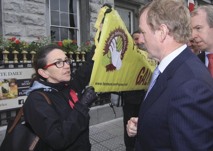 During the Taoiseach's last visit he encountered protests, led by Dette McLoughlin, who is among those organising today's Right2Water Galway protest. Photo:- Mike Shaughnessy.