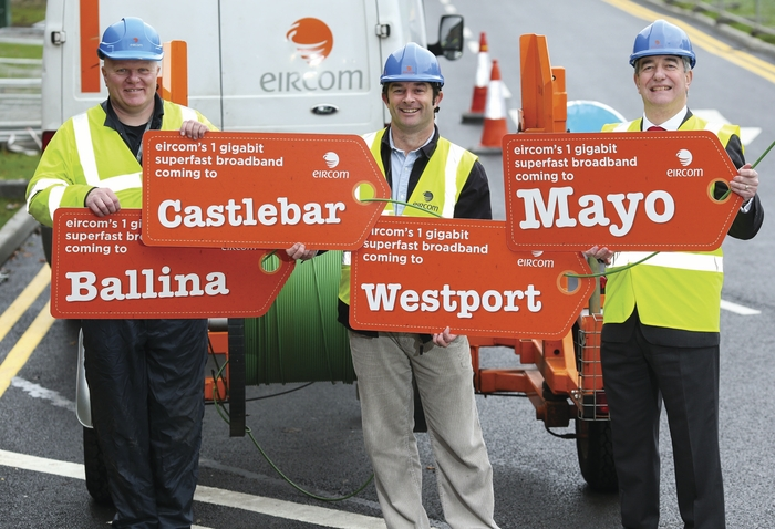 Eircom technicians Kevin Lalor and Stephen Carleton, and Eircom's acting CEO, Richard Moat, at the announcement of the new superfast broadband speeds in Castlebar, Westport and Ballina.