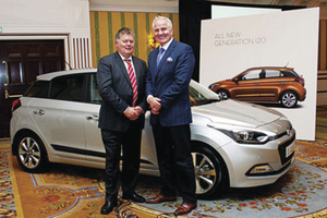 Pictured at the recent launch of the new Hyundai i20 are David Hogan of Hogan Motors, Ballybrit, with rugby pundit Brent Pope.  The new i20 will be on show in the dealship this weekend.