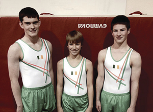 Pictured right: Daragh Moane, Hugo Kinahan and Dean Murrray of the Renmore Gymnastic Club will represent Ireland in the world tumbling championships in the USA this month.