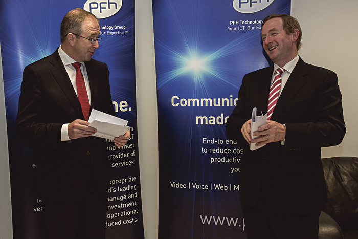 Spreading the good news — PFH Technology Group CEO Paul Hourican and An Taoiseach, Enda Kenny, in Galway on Monday.