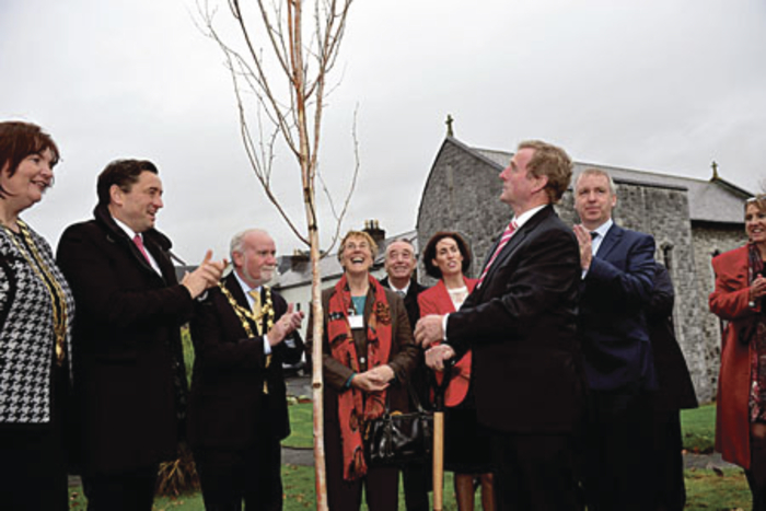 An Taoiseach, Enda Kenny, plants a symbolic birch tree at the launch of the Development Plan for COPE Galway's new domestic violence refuge.  Photo: Boyd Challenger