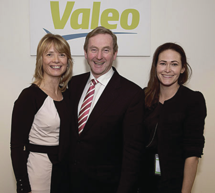 Pictured at one of the many job announcements by An Taoiseach this week are Deirdre Kilkenny, Valeo, and  An Taoiseach, Enda Kenny, and Catherina Blewitt, west regional business & relationship manager IDA at Valeo Tuam.  Photo: Andrew Downes.