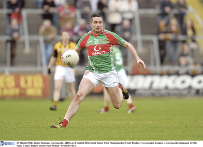 James Duignan was key in injecting a bit of urgency into Garrycastle's play.  Photo: Sportsfile