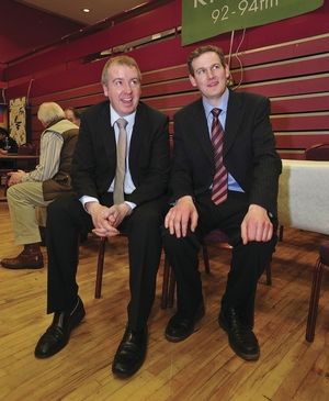 Brian Walsh and Seán Kyne at Leisureland during the Galway West General Election count in 2011. Photo:- Mike Shaughnessy
