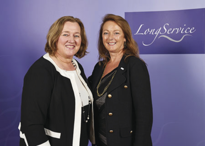 Mary Golden (left) is pictured with Debbie White, chief executive of Sodexo UK and Ireland, at the Long Service Awards in London.