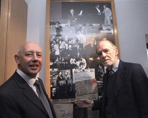 Pat Keating, Westmeath County Council and John McCormack visiting the new McCormack exhibition.