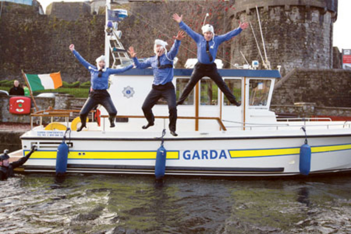 Garda Brian Keane, Aisling Brady, and Andrew Haran at the launch of the Special Olympics Polar Plunge that takes place in the icy waters of the Shannon at The Strand, Athlone on Saturday December 13. Photo: Sean Curtin