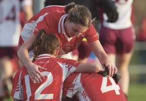 Killerrin / Clonberne captain Annette Clarke consoles Claire Dunleavy and Aibhe Mahony after their defeat to Termon in  the TESCO Homegrown All Ireland Club semi-final at Clonberne on Sunday.  Photo:-Mike Shaughnessy