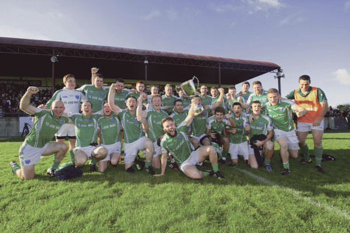 Oileáin Árainn celebrate after defeating Achill Island to win in the AIB Connacht Club Junior Football Championship final at Tuam Stadium on Sunday. 		Photo:-Mike Shaughnessy