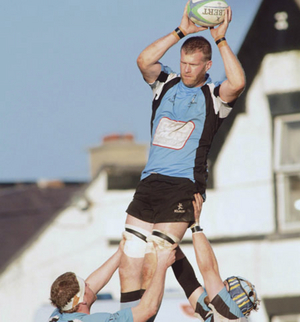 Claiming the top spot, Galwegians' Brian McClearn wins line-out ball in the Ulster Bank League division 1b game against Malone at Crowley Park on Saturday. 		Photo:-Mike Shaughnessy