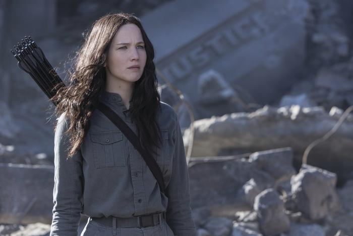 Jennifer Lawrence as Katniss Everdeen in The Hunger Games: Mockingjay Part 1.