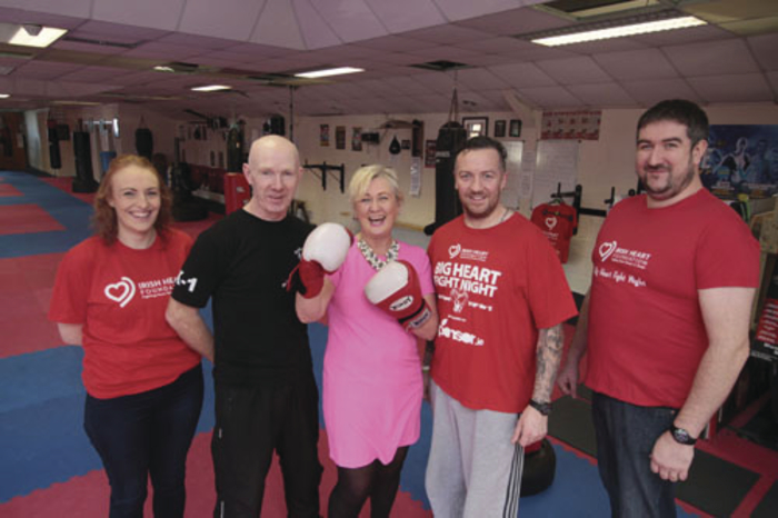 Fighting heart disease are Breffni Gorman Irish Haart Foundation, Pete Foley Black Dragon Kick boxing Club, Michelle Burke auctioneer, Barry Hearns of Herbalife and David Greeley of Tempo Antiques at the Black Dragon kick boxing club.