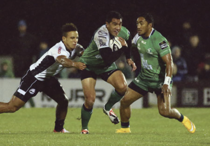 Connacht's first All Black, Mils Muliaina, in action for the first time at the Sportsground in the province's five-try win over Zebre.    		Photo: Mike Shaughnessy
