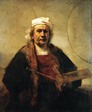 A self-portrait by Rembrandt from the late 1660s.