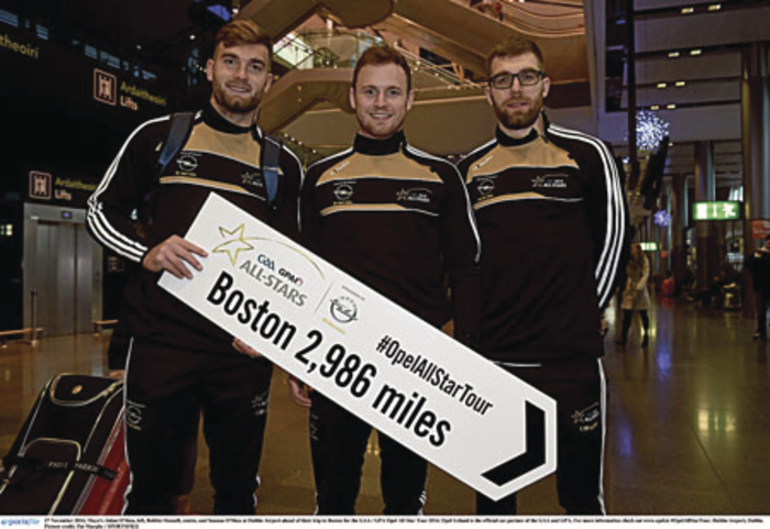 From Breaffy to Boston: Aidan O'Shea, Robbie Hennelly and Seamus O'Shea get getting ready to leave Dublin Airport for Boston yesterday as part of the All Stars trip to the Boston. Photo: Sportsfile