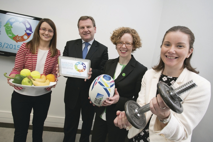Miriam Doolan, HR specialist, Teleflex; Danny McCoy, CEO, Ibec; Kate O'Flaherty, director, Health and Wellbeing Programme, Department of Health; and Karen Duffy, HR coordinator, Teleflex at the launch of Ireland's first National Workplace Wellbeing Day.