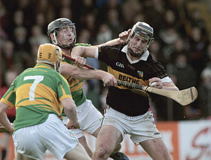 End of the road for Beagh:  Kevin Keehan of Beagh is blocked by Gort's Sylvie Óg Linnane and Sean Forde in action from the Salthill Hotel Galway Senior Hurling semi-final at Kenny Park, Athenry, on Sunday. Photo:-Mike Shaughnessy