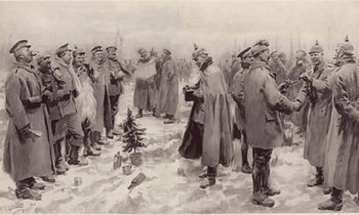 The 100th anniversary of the famous Soldiers Christmas Truce in 1914 will be remembered in Castlebar. Photo via Wikipedia.