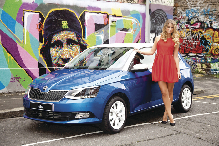 Skoda driver Vogue Williams pictured with the new Skoda Fabia. The eagerly anticipated new Fabia arrived in dealerships on December 1 with prices starting from €13,895.