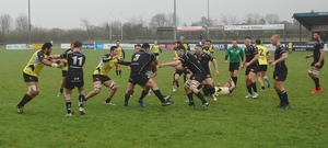 Buccaneers prop Martin Staunton endeavours to breach the Ballymena defensive line during Saturday's match