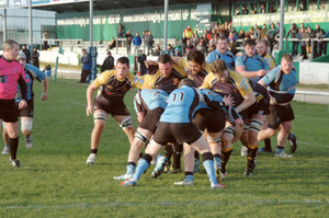 Buccaneers forwards drive the Galwegians pack back over their line for their second try scored by Scott Flanagan