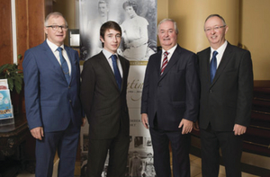 Owen Hughes, Henry Hughes, Cathal Hughes and Harry Hughes mark one hundred and ten years in business at Hotel Westport. Pic: Michael McLaughlin