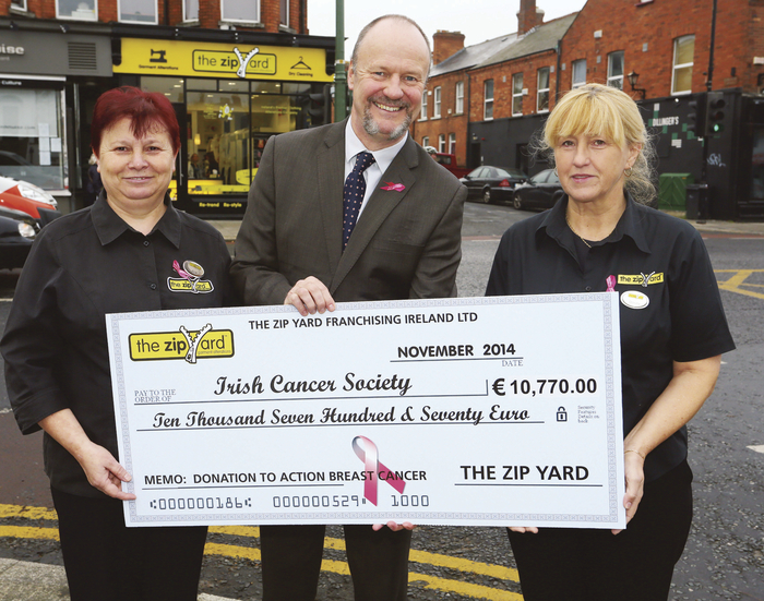 Staff of The Zip Yard are pictured presenting a cheque to Mark Mellett, head of fundraising Irish Cancer Society