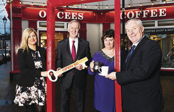 Caroline Ball from Louisburgh, an employee at O'Cee's Coffee Shop in Westport, pictured with (from left) Margaret O'Halloran, employment development officer at the IASE; Noel Kavanagh, MD at the Kavanagh Group; Caroline Ball; and Michael Ring, Minister of State at the Department of Transport, Tourism and Sport.