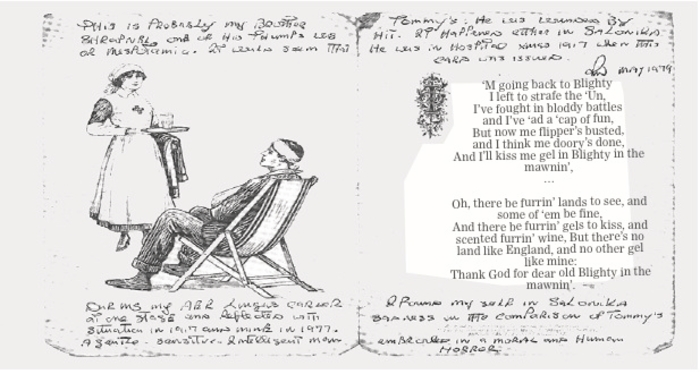 Christmas card from the British Red Cross Society: In 1917 all wounded men received a cheerful Christmas message from the Red Cross. This one was sent to Gunner Thomas Wall, Loughrea. The hand written additions were made in 1979 by Thomas's younger brother Raymond, who served in the RAF during World War II (Illustration from A Coward If I Return, A Hero If I Fall - Stories of Irishmen in World War I, by Neil Richardson, on sale ¤19.99).
