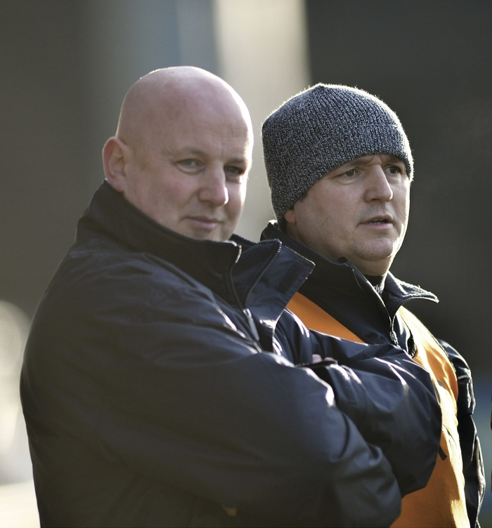 First day in the hot seat: Pat Holmes and Noel Connelly take in the action on the sideline. Photo: Sportsfile