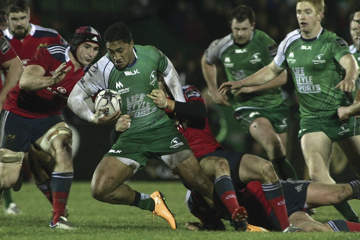 Connacht's Bundee Aki breaks through the tackle in Connacht's win over Munster on New Year's Day.