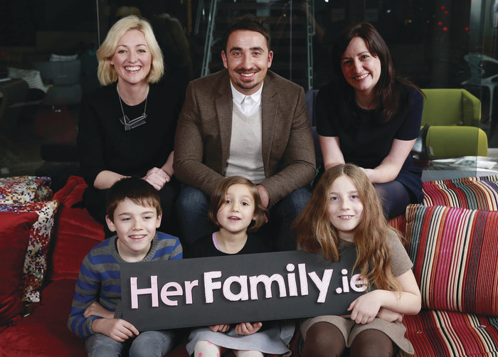 Pictured at the launch of HerFamily.ie, the big sister site to Her.ie were (back row) Sive O'Brien – editor of HerFamily.ie,  Niall McGarry, CEO of Maximum Media, and Katie Molony – MD of Maximum Media, (front Row) Sean Keating, Juno O'Brien, and Molly Keating.