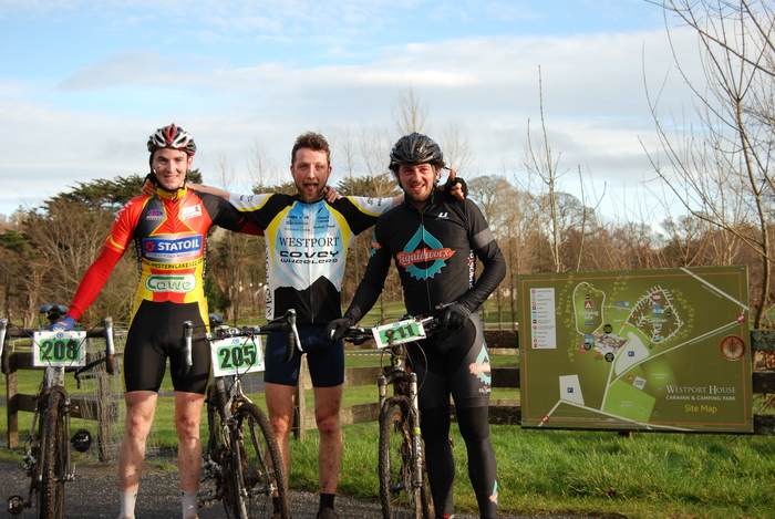 Top three: Sean O'Malley, Western Lakes CC, who finished in third place; first place finisher Eamon Staunton, Westport Covey, and Patrick Clarke, Liquid Worx, Ballina, who finished second, photographed at the Connacht Cyclo Cross Championships.