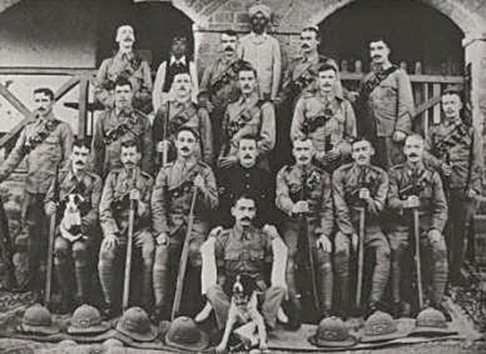 Members of the Ist battalion of the Connaught Rangers in India. James Daly is bottom right (Photograph at King House Museum, Boyle).