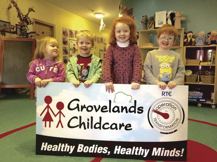 Sarah Nally, Ryan Cunningham, Felicity Heaslip, and Liam Ryan at the launch of Groveland's OT challenge.