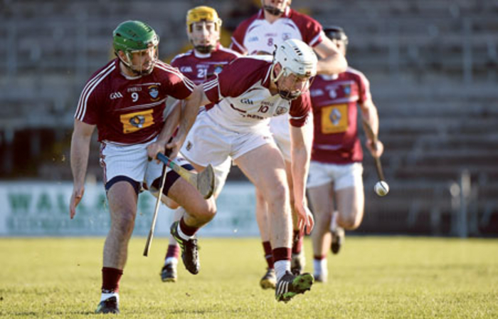 Padraig Brehony, Galway, in action against Joe Clarke, Westmeath. Photo: Sportsfile