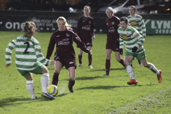 Pictured right: Galway WFC captain Ruth Fahy battles with Castlebar Celtic's Sarah Baynes in the Continental Tyres WNL on Saturday.