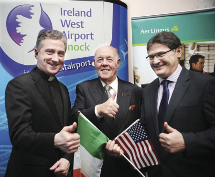 Fr Richard Gibbons, PP and Rector of Knock Shrine, Joe Kennedy, chairman, Ireland West Airport Knock, and Joe Gilmore, managing director, Ireland West Airport Knock, at the announcement of the chartered New York to Knock pilgrimage flight. Photo: Henry Wills.