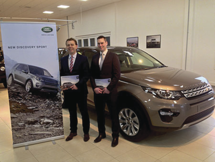 Bradley Land Rover sales team Nigel Donovan and JP Steede pictured with one of the first Discovery Sports in Ireland, which are now available for test drive.