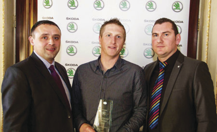 Pictured (L to R) at the national Skoda Service Advisor Champion award presentation were: Chris Lowry, technical coach of Skoda Ireland, with winner David Mullane, service managerat Monaghan & Sons, Galway, and David Rave, head of aftersales Skoda Ireland.