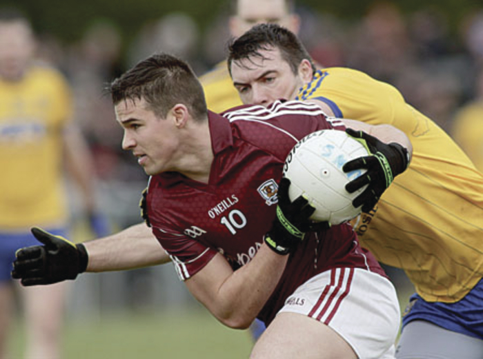 Galway's Sean Denvir and Roscommon's Ian Kilbride in action from the Connacht FBD League Final at Kiltoom on Sunday. Photo:-Mike Shaughnessy