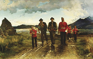 Heading  home after a recruiting drive in Co Kerry, and not a bad day's work. Two new recruits for the Connaught Rangers.   Painted 1878  by Lady Butler.