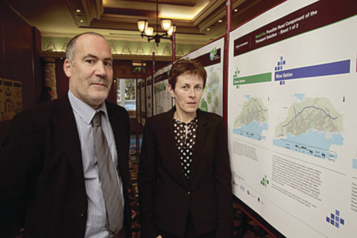 Fintan O'Meara project engineer Galway County Council and Eileen McCarthy of Arup consulting engineers at the unveiling of the proposed options for the Galway City Outer bypass, which went on display to the public at the Westwood Hotel on Wednesday. Photo:-Mike Shaughnessy