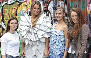 Model Vogue Williams with Junk Kouture finalists from 2014, Aideen Caulfield, Emma Horan and Emma Grealis from St Joseph's Secondary School, Castlebar.